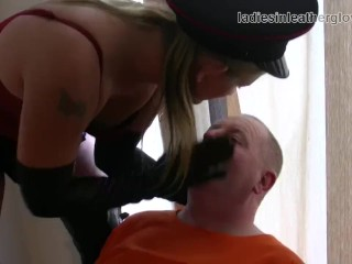 Smoking leather clad blonde Mistress in gloves and boots fetish domination