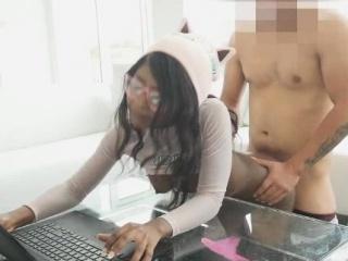 Nerd Black Teen Fucked by White Cock!