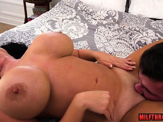 Brunette milf ass to mouth with facial
