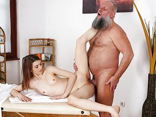 Older man fucks her younger massage client