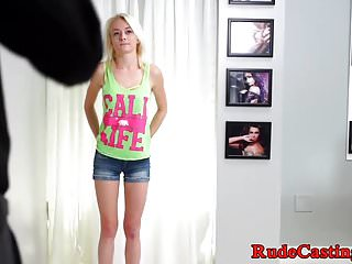 Tiny cutie hardfucked on casting couch