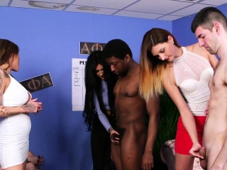 Cfnm babes tug black dick