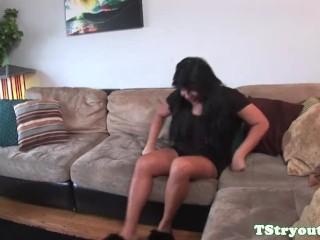 Masturbating TS latina filmed at casting