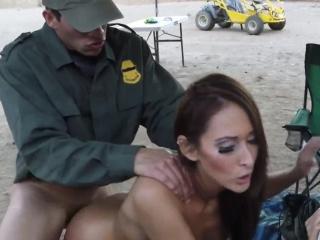 Police double and hot Nasty border patrool surveys pretty