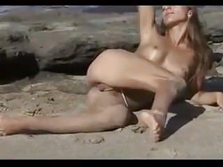 Nude Beach - Hot Brunette Posing - Great Upshots