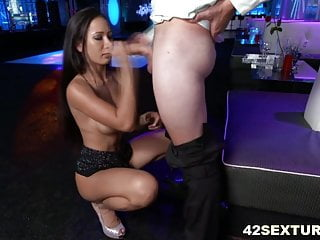 Amia Miley's shaved pussy fucked in a club