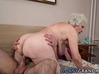 Grandmas face spunked on