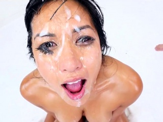 Throated asian ho bukkake