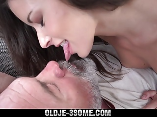 Old Young Threesome Sharing his cock and cum swallowing