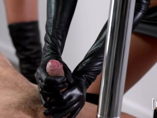 Leather Boots and gloves anal