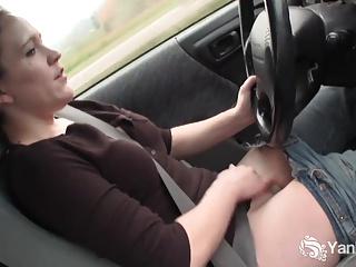 Hottie Lou Masturbating In The Car