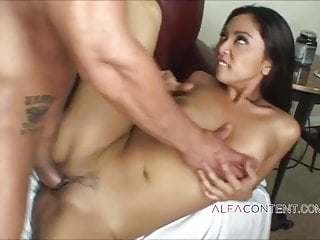Sexy brunette Asian slut looking amazing while