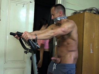 Young euro domina restrains submissive slave