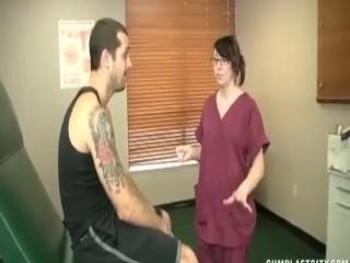 Teen nurse jacks off a huge dick