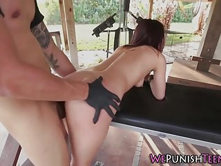 Restrained student fucked