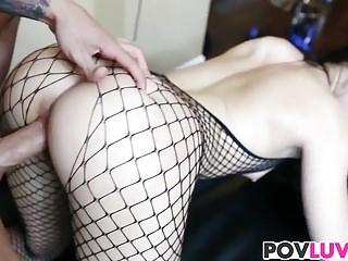 Fishnet wearing Nikki Bell gets fucked