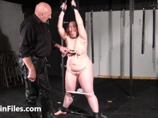 Enslaved fat masochists full force whipping and tit tortures on the bondage