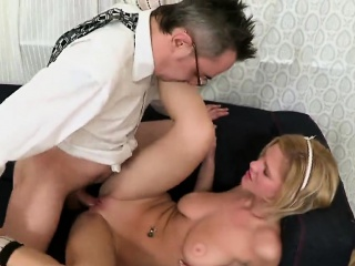 Sensual schoolgirl gets seduced and banged by her aged schoo