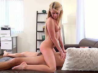 Beautiful model enjoys riding huge cock