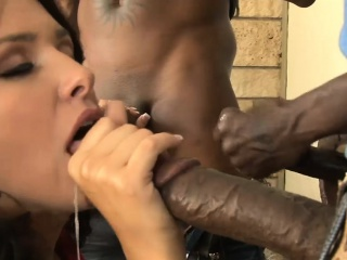 Sexy babe gets all holes banged by massive black boners