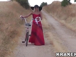 Voyeur video with a sweet provocative girl in outdoor scene