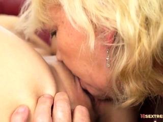 Blonde Granny Likes Teens Pussies