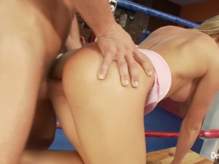 Busty Blonde Babe Fucking With Her Horny Boxing Coach
