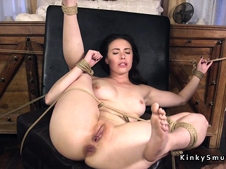 Tied up spreded slave anal fucked