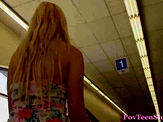 Pov blonde teen rides dick