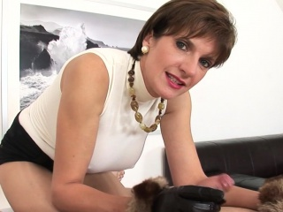 Sonia jerks off twitter fan with leather gloves on