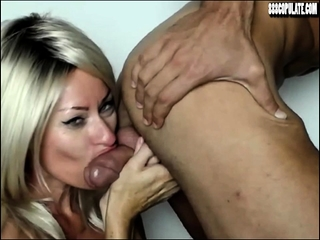 Hot sexy wife deep throat big cock blowjob swallow