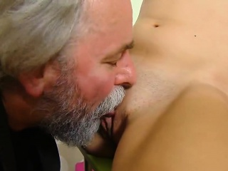 Kissable college girl is seduced and reamed by her elderly l