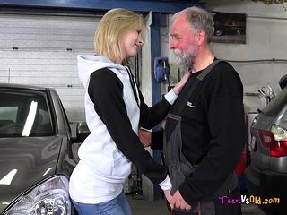Freaky Teen Daniela C Blows Old Mechanic