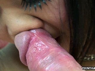 Spreading her hairy muff then fucking it real deep