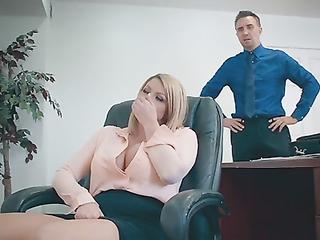 Busty secretary caught in office
