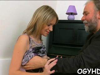 Charming youthful babe finds herself impaled on old wang