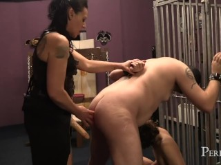 Bi Bi Strap-On - Mistress Dark Faye fucks slaves hard with her strap-on