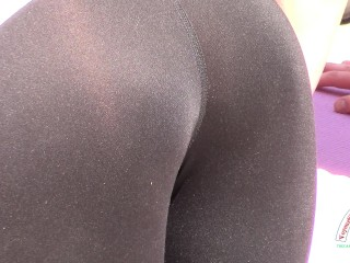 yoga babes in see through bending