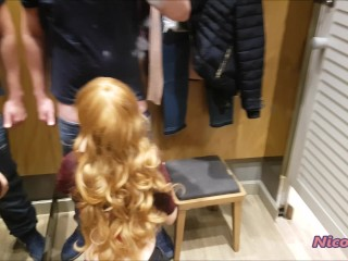 Changing room quickie fuck - real public.