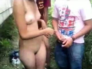 Young Latina Slut Outdoors Group Fun