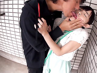 Asian pervy hooligan caught petite teen and stuffed her mouth with his cock right at the front door