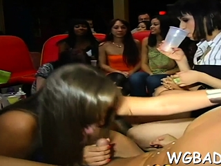 Hotties are engulfing stripper's pecker wildly