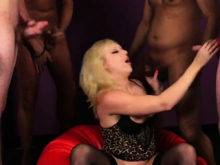 Unusual bombshell gets cumshot on her face sucking all the j