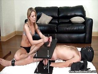 dom blonde gives femdom handjob