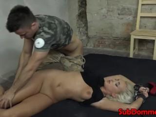 Ball gagged restrained sub sucks doms cock