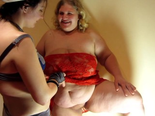 Slim and fat lesbian girlfriend. hard fisting