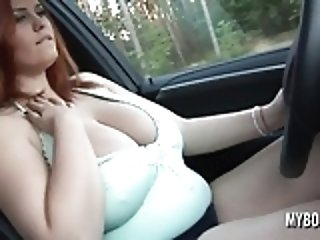 Alexsis Faye Drive X5 naked and playing with her huge tits