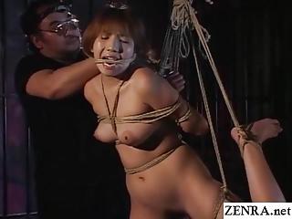 Traditional JAV shibari rope binding with naked schoolgirl