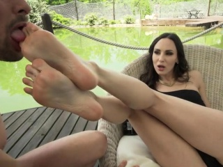 Brunette pornstar foot and anal cumshot