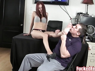 Teen Andi Rose Gives Footjob for First Time at Fucked Feet!